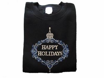 Happy Holidays Christmas Ornament Swarovsk Crystal Rhinestone Shirt