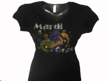 Mardi Gras Swarovski rhinestone bling t shirt