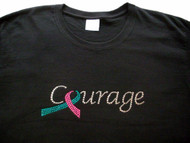 Hereditary Breast Cancer Pink Ribbon Courgage Swarovski Rhinestone T Shirt