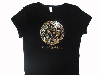 Versace Inspired Swarovski Crystal Rhinestone T Shirt