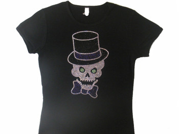 Skull Top Hat Swarovski crystal rhinestone t shirt