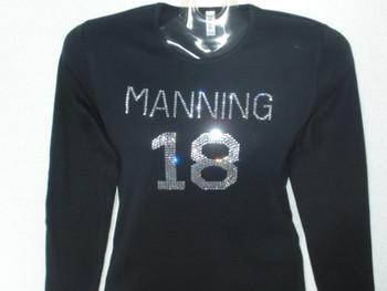 Manning 18 Swarovski crystal rhinestone jersey t shirt