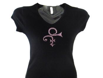 Prince Symbol Purple Swarovski Crystal Rhinestone T Shirt
