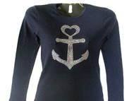 Large Anchor Rhinestone T Shirt Made with Swarovski crystals.