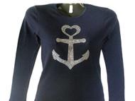 Large Anchor Rhinestone T Shirt Made with Swarovski crystals.