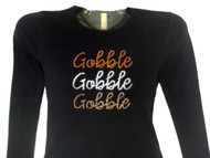 Gobble Gobble Gobble sparkly rhinestone Thanksgiving shirt