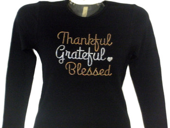 Thankful Grateful Blessed sparkly Thanksgiving rhinestone t shirt