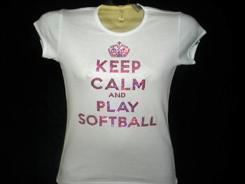 Keep Calm & Play Softball Swarovski rhinestone t shirt
