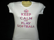Keep Calm & Play Softball Swarovski rhinestone t shirt
