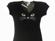 Cat eyes face whiskers sparkly rhinestone t shirt