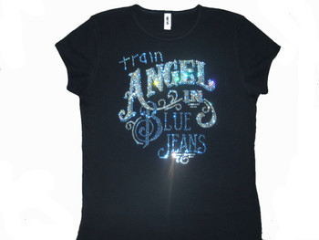 Train Angel In Blue Jeans sparkly rhinestone tee shirt