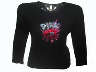 Pink Rhinestone Concert T shirt made with Swarovski crystals