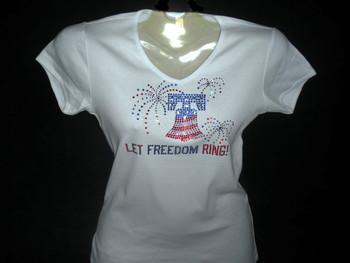 Patriotic Let Freedom Ring Swarovski crystal rhinestone t shirt