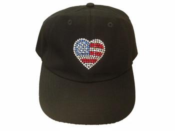 Swarovski crystal patriotic heart baseball cap hat.