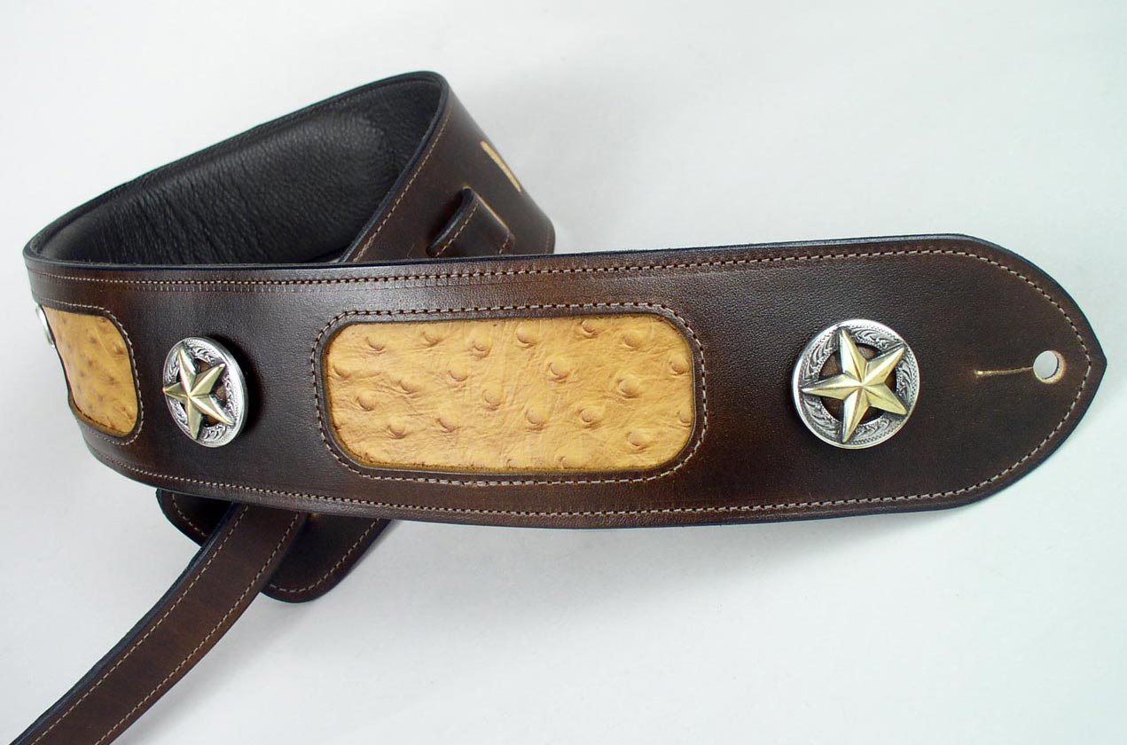 leather guitar strap inlay