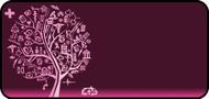 Med Sketch Tree Pink