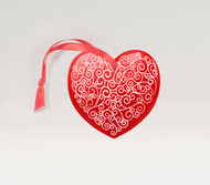 Scroll Heart Red Ornament