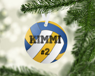 Volleyball Yellow/Blue Ornament
