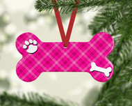 Pet Pink Plaid Ornament