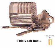 CPL-5 Plastic See-Thru Practice Lock, standard top pins
