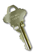 Key with Do Not Copy Stamped on it