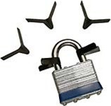 Spring steel padlock shims from Sparrows.