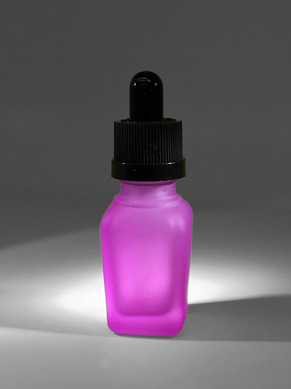 ECBlend Frosted Pink 15ml Glass Bottle with Pipette - Perfect for E-liquid