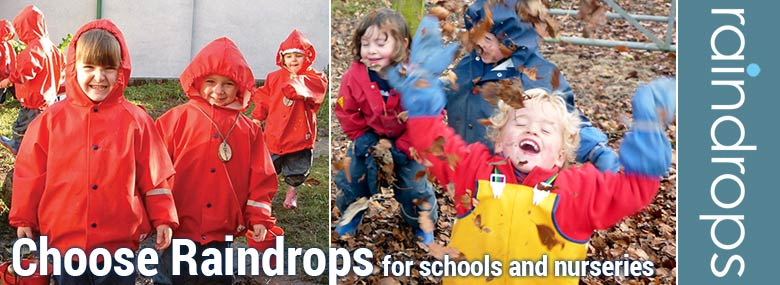 Children's outdoor clothing for schools, nurseries and forest schools from Raindrops