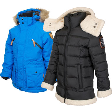 Boys/unisex Alaska parka (L) Zermatt girls winter jacket (R)