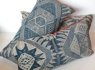 Indigo Brocade Textile Pillow SOLD