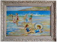 1950s Beach Scene Oil Painting SOLD