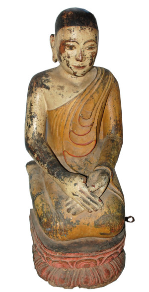 19c Burmese Kneeling Buddhist Monk Hot Moon Collection