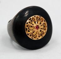 Carolyn Roumeguere 18k Ruby Horn Ring