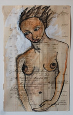 Franceska Schifrin Mixed Media on Ledger Paper