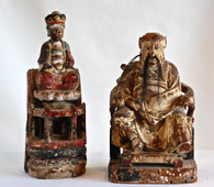 Antique Chinese Wooden Temple Figures