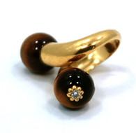 Art Deco 18k Gold TigerEye Diamond Ring
