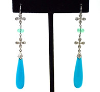 Cathy Waterman Platinum Turquoise Drop Earrings SOLD