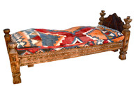 Moroccan Wooden Bed w/Kilim
