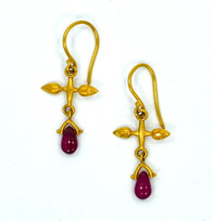 22k Gold & Ruby Cross Earrings