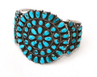 1940s Traditional Zuni Three Cluster Turquoise Bracelet