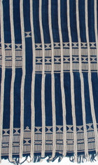 African Baule Ceremonial Indigo Wrap Cloth