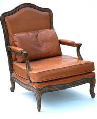 Regency Style Leather Chair & Ottoman