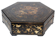 Antique Hexagon Lacquered Box SOLD