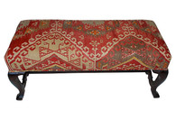 Kilim-Covered Queen Anne Style Bench SOLD