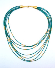 22k Gold Rolled Beads Turquoise Necklace