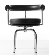 Cassina LC7 Black Leather Chair Designed by Le Corbusier, Pair