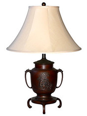 19th-C. Japanese Bronze Lamp