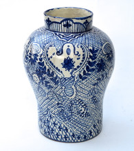 Large Blue on White Talavera Jarron Vase SOLD
