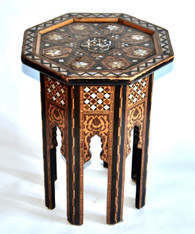 Antique Syrian Inlaid Hexagon Table SOLD