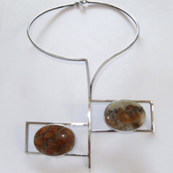 1970s Modernist Alain Teissier Sterling Ocean Jasper Necklace